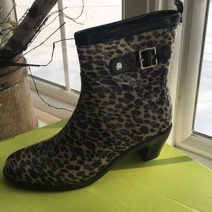 Leopard Print Rubber Rain Boots